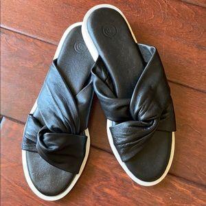 UO black leather slip on sandals